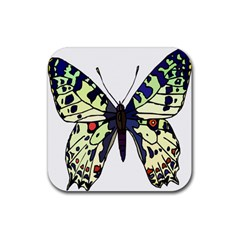 A Colorful Butterfly Image Rubber Square Coaster (4 pack)