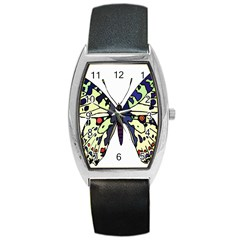 A Colorful Butterfly Image Barrel Style Metal Watch