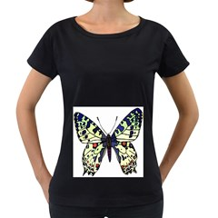 A Colorful Butterfly Image Women s Loose-Fit T-Shirt (Black)