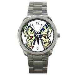 A Colorful Butterfly Image Sport Metal Watch