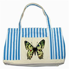 A Colorful Butterfly Image Striped Blue Tote Bag