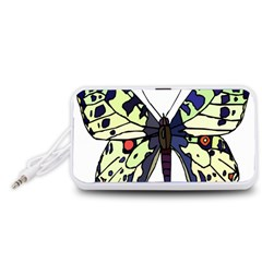 A Colorful Butterfly Image Portable Speaker (White)
