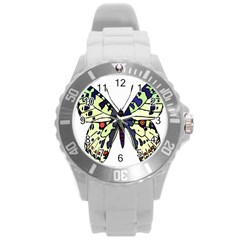 A Colorful Butterfly Image Round Plastic Sport Watch (L)