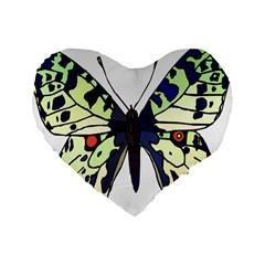 A Colorful Butterfly Image Standard 16  Premium Heart Shape Cushions