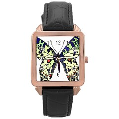 A Colorful Butterfly Image Rose Gold Leather Watch