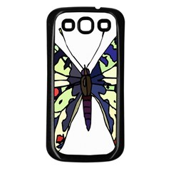 A Colorful Butterfly Image Samsung Galaxy S3 Back Case (Black)