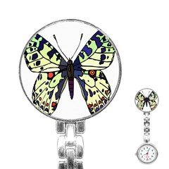 A Colorful Butterfly Image Stainless Steel Nurses Watch