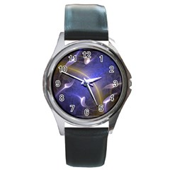 Fractal Magic Flames In 3d Glass Frame Round Metal Watch