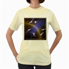 Fractal Magic Flames In 3d Glass Frame Women s Yellow T Shirt