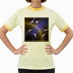 Fractal Magic Flames In 3d Glass Frame Women s Fitted Ringer T-Shirts