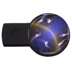 Fractal Magic Flames In 3d Glass Frame USB Flash Drive Round (1 GB)