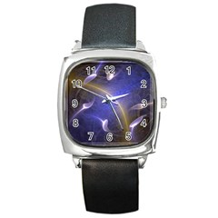 Fractal Magic Flames In 3d Glass Frame Square Metal Watch