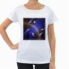 Fractal Magic Flames In 3d Glass Frame Women s Loose-Fit T-Shirt (White)