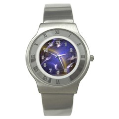 Fractal Magic Flames In 3d Glass Frame Stainless Steel Watch