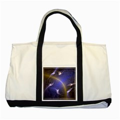 Fractal Magic Flames In 3d Glass Frame Two Tone Tote Bag