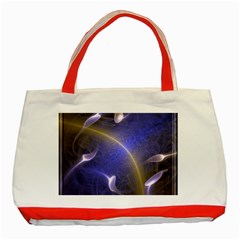 Fractal Magic Flames In 3d Glass Frame Classic Tote Bag (Red)