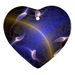 Fractal Magic Flames In 3d Glass Frame Heart Ornament (two Sides)