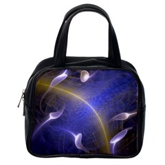 Fractal Magic Flames In 3d Glass Frame Classic Handbags (One Side)