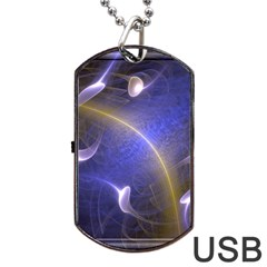 Fractal Magic Flames In 3d Glass Frame Dog Tag USB Flash (One Side)