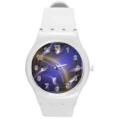 Fractal Magic Flames In 3d Glass Frame Round Plastic Sport Watch (M)