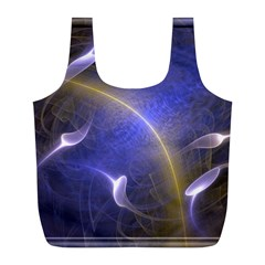 Fractal Magic Flames In 3d Glass Frame Full Print Recycle Bags (L)