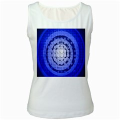 Abstract Background Blue Created With Layers Women s White Tank Top