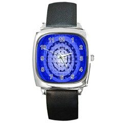 Abstract Background Blue Created With Layers Square Metal Watch