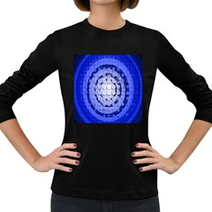 Abstract Background Blue Created With Layers Women s Long Sleeve Dark T Shirts