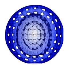 Abstract Background Blue Created With Layers Round Filigree Ornament (Two Sides)