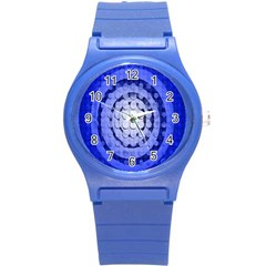 Abstract Background Blue Created With Layers Round Plastic Sport Watch (S)