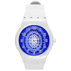 Abstract Background Blue Created With Layers Round Plastic Sport Watch (m)