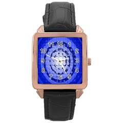 Abstract Background Blue Created With Layers Rose Gold Leather Watch