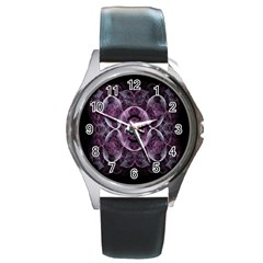 Fractal In Lovely Swirls Of Purple And Blue Round Metal Watch