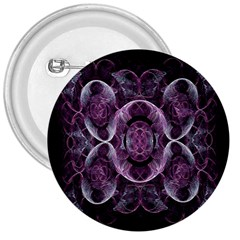 Fractal In Lovely Swirls Of Purple And Blue 3  Buttons
