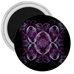 Fractal In Lovely Swirls Of Purple And Blue 3  Magnets