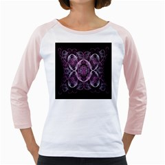 Fractal In Lovely Swirls Of Purple And Blue Girly Raglans