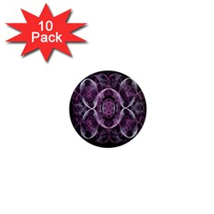 Fractal In Lovely Swirls Of Purple And Blue 1  Mini Magnet (10 pack)
