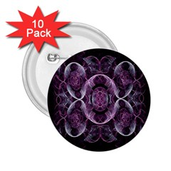 Fractal In Lovely Swirls Of Purple And Blue 2 25  Buttons (10 Pack)