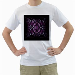 Fractal In Lovely Swirls Of Purple And Blue Men s T-Shirt (White) (Two Sided)