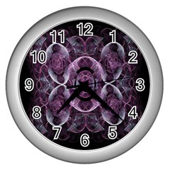 Fractal In Lovely Swirls Of Purple And Blue Wall Clocks (silver)