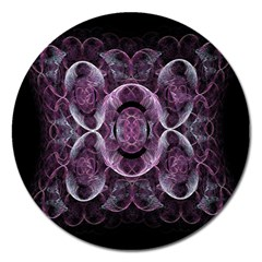 Fractal In Lovely Swirls Of Purple And Blue Magnet 5  (Round)