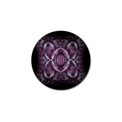 Fractal In Lovely Swirls Of Purple And Blue Golf Ball Marker