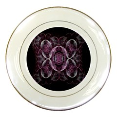 Fractal In Lovely Swirls Of Purple And Blue Porcelain Plates