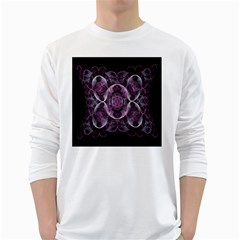 Fractal In Lovely Swirls Of Purple And Blue White Long Sleeve T-Shirts