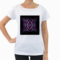 Fractal In Lovely Swirls Of Purple And Blue Women s Loose Fit T Shirt (white)