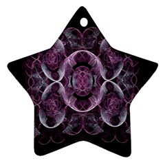 Fractal In Lovely Swirls Of Purple And Blue Star Ornament (two Sides)