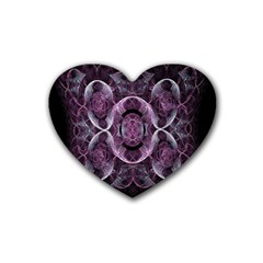 Fractal In Lovely Swirls Of Purple And Blue Heart Coaster (4 Pack)