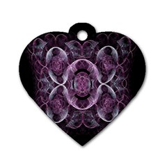 Fractal In Lovely Swirls Of Purple And Blue Dog Tag Heart (one Side)