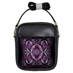 Fractal In Lovely Swirls Of Purple And Blue Girls Sling Bags
