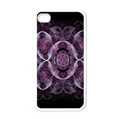 Fractal In Lovely Swirls Of Purple And Blue Apple Iphone 4 Case (white)